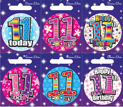 Age 11 11th Birthday Badge Boy Girl Small Badge Childrens Party Gift Present