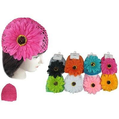 6pcs Newborn Infant Baby Girl Sunflowers CROCHET Waffle BEANIE Knit Hats Caps