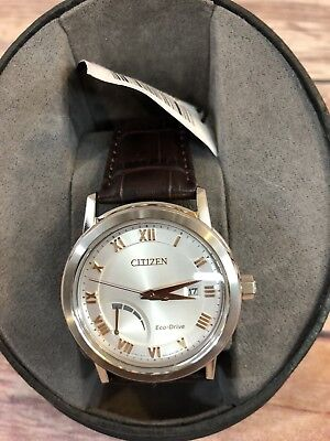 Citizen Eco-Drive Men's AW7020-00A Power Reserve Analog Leather Band Watch NEW