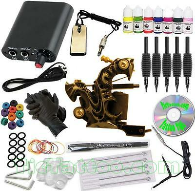 WOW COMPLETE TATTOO KIT Black Fang Machine Gun Color Inks Power Supply Needles +