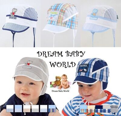 100% Cotton spring summer boys HAT 3-24 months 2-3 Years TIE UP KIDS cap HATS