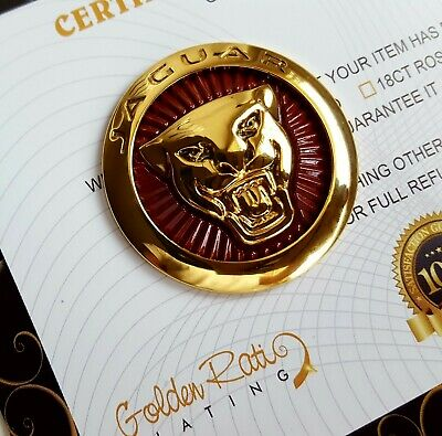 24ct Gold Plated Red Jaguar Gear Badge Rotary Selector Growler 42mm XJ XE F-PACE