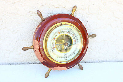 Old German UNITED Wood Brass BAROMOMETER Nautical ships wheel Visible Nice