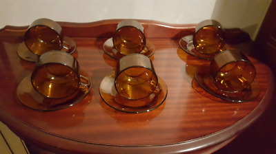 """Cup and Saucer """"Durax""""  French Made Retro Amber Coloured Duo (single set)"""