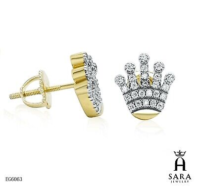 925 Sterling Silver and Gold Plated Lab Diamond stud Earrings SCREW BACK