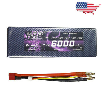 HRB 7.4V 6000mAh 2S 60C Max 120C Hard Case RC Lipo Battery for Car Truck Traxxas