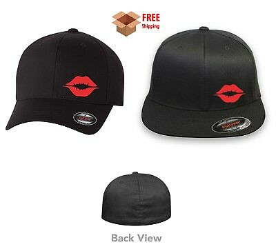 WOMAN RED LIPS SEXY  Flex Fit HAT CURVED or FLAT BILL
