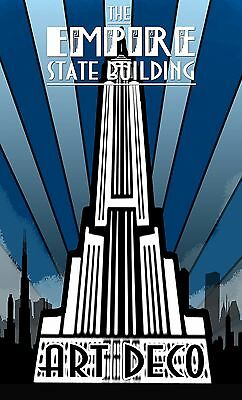 Paper Print Poster Vintage Art Deco Empire State painting   Canvas  Framed
