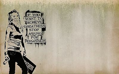 Framed Canvas Print  Banksy Quote Girl Style  art street wall stencil spray