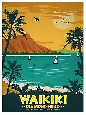 Hawaii waikiki Vintage Illustrated Travel Poster Print Framed Canvas