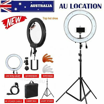 "19"" 14"" 5500K Dimmable Diva LED Ring Light Diffuser Stand Make Up Beauty Studio"