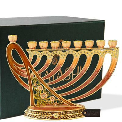 Hand Painted Enamel Menorah Candelabra with Deep Earthy Colors and Modern Flow