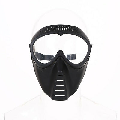 Protective Airsoft Paintball Game Tactical Full Face Black Clear Helmet Mask !