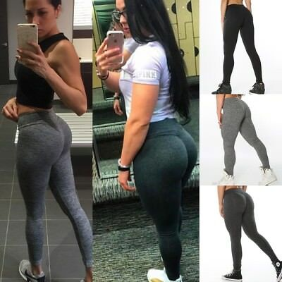 Womens Push Up Fitness Leggings Running Gym Stretch Sports Pants Trousers Shorts