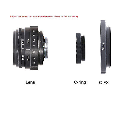 FUJIAN 35mm f/1.6 C Mount CCTV f1.6 lens for  Fuji Fujifilm FX Mirrorless Camera