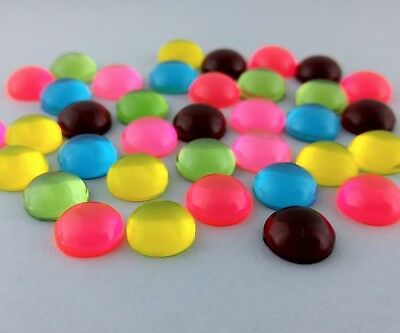 50pc - 12mm Resin Cabochons Transparent Domed Shaped Craft Jewelry Cab  FBC180