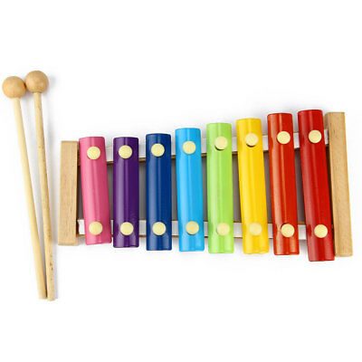 Portable Wooden 8 Notes Musical Educational Toys Hand Knock Xylophone for Kids