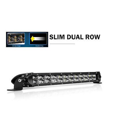 22 INCH LED Work LIGHT BAR Combo Dual Color Offroad Tri-Row Fog 4X4WD 12V 24V