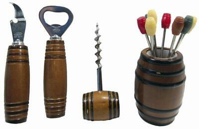 Bar Set Retro 1960's Japan Wood Barrel Cocktail Martini Picks Forks Bulk Lot