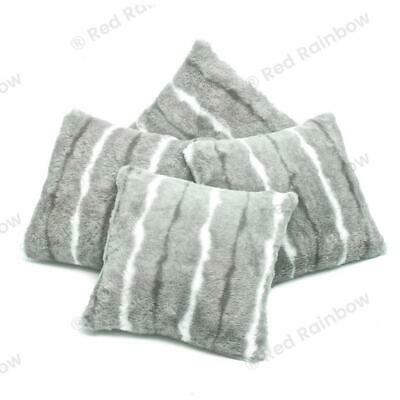 "Set of 4 Silver Grey Luxury Faux Mink Stripe Fur 18"" Super Soft Cushion Covers"