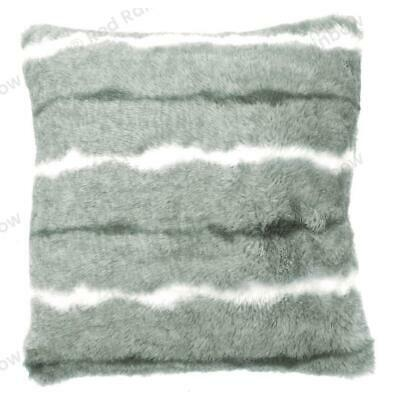 Grey / Silver Luxury Faux Mink Stripe Fur 18 Inch Super Soft Cushion Cover