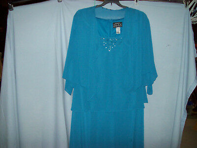 Women's Alex Evening Size 18W Aqua Tea Length Dress