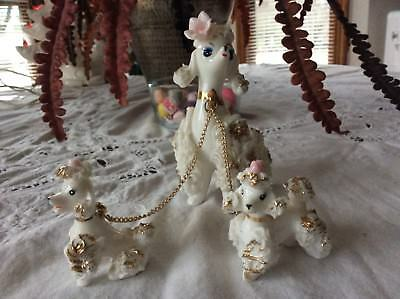 Vintage Lefton White Poodles With Chain Leashes