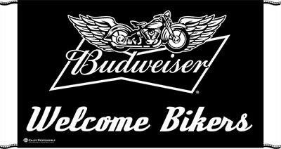 "NEW Budweiser Welcome Bikers 60"" x 34"" Outdoor Banner"