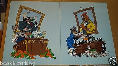 Bugs Bunny Daffy Duck 2 sericel set More Bull Stock Market COA $750