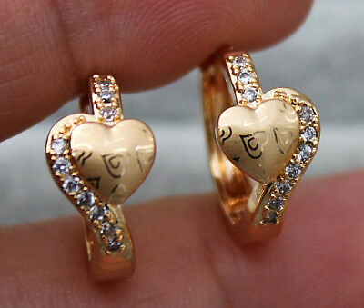 18K Yellow Gold Filled - Laser Carved Heart Topaz Zircon Hoop Cocktail Earrings
