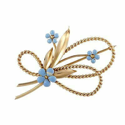 Cartier 14K Yellow Gold Turquoise Floral Brooch