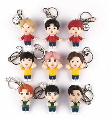 Exo Smtown Giftshop Official Goods All 9 Figure Key Ring Keyring + Photocard Set