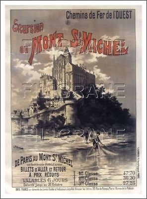 POSTER/REPRINT A2/40x60cm d'1 AFFICHE ANCIENNE : EXCURSIONS MONT ST MICHEL