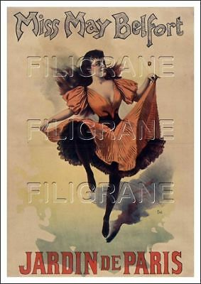 REPRODUCTION 40x60cm d'1 AFFICHE ANCIENNE CIRQUE/CIRCUS  Miss MAY BELFORT