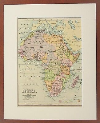 Africa Map, Continent - Antique c.1900 Mounted Colour Map