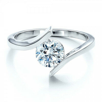 1.00Ct Round Diamond Solitaire Engagement Ring 14K White Gold Solitaire Ring