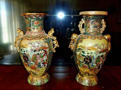 Excellent Pair of Gilded Porcelain Oriental Decorated Urns / Vases