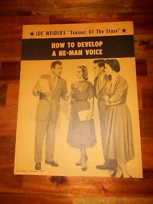 """JOE WEIDER """"How to Develop He-Man Voice"""" course bodybuilding muscle booklet 1959"""