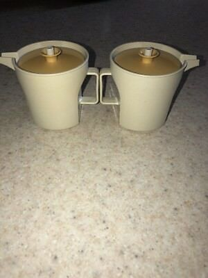 Tupperware Vintage Sugar & Creamer Set #1414 1415 Almond With Gold Lids