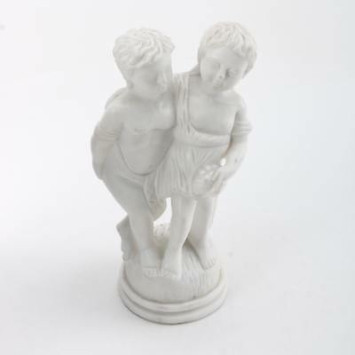 "Beautiful 9.5"" Marble Figurine Of Two Children"