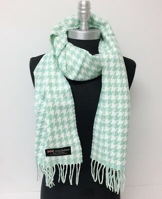 New 100% CASHMERE SCARF HOUNDSTOOTH DESIGN Green White Scotland SOFT Wool Wrap