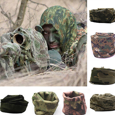 Unisex Camo Mesh Wrap Neck Scarf Military Scrim Net Sniper Face Veil Army Camp