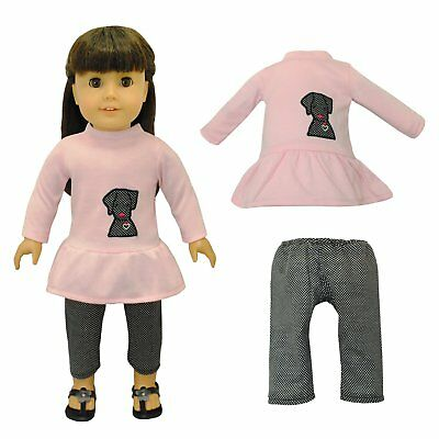 Doll Clothes Cute Dog & Capris Outfit Fits American Girl & Other 18 Inch Dolls