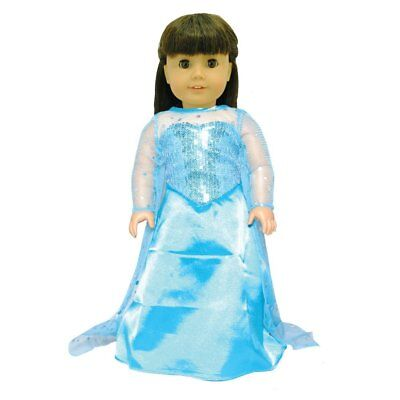 Doll Clothes Queen Elsa Dress Outfit Fits American Girl & Other 18 Inch Dolls