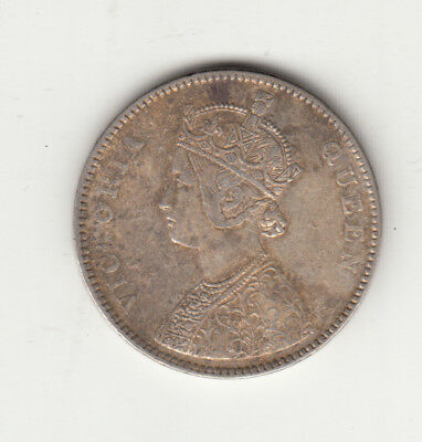 1862 British India Queen Victoria One Rupee Silver Coin.with 4 Dots