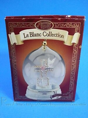 """San Francisco Music Box Co. """"Le Blanc Collection"""" Cross / plays Silent Night"""