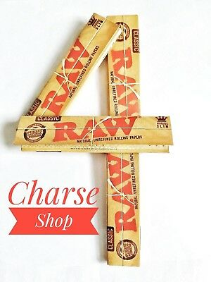 RAW King Size Slim Natural Unrefined Rolling Paper Organic Hemp * 4 PACK *
