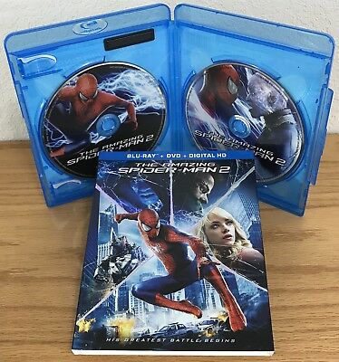 THE AMAZING SPIDER-MAN 2 (Blu-Ray/DVD, 2014) w/TEXTURED FOIL-EMBOSSED SLIPCOVER