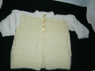 New Hand Knitted Lemon & White Jacket / Cardigan For Unisex Baby Size Approx. 0