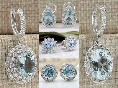 Vintage Silver Jewelry Aquamarine Gems Engagement Wedding Dorp Dangle Earrings